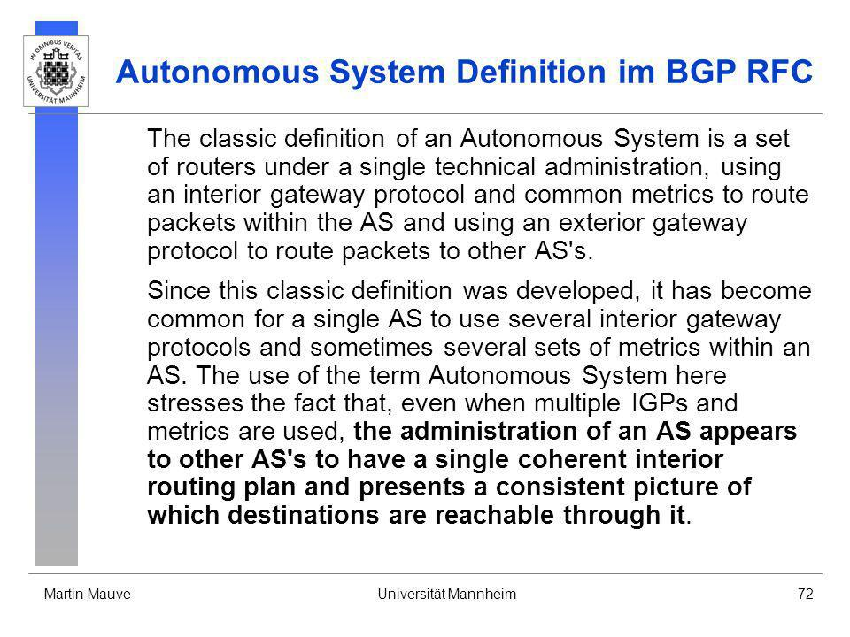 Autonomous System Definition im BGP RFC
