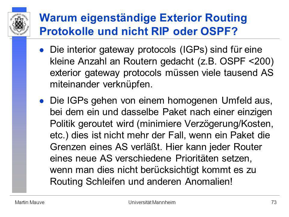 Warum eigenständige Exterior Routing Protokolle und nicht RIP oder OSPF
