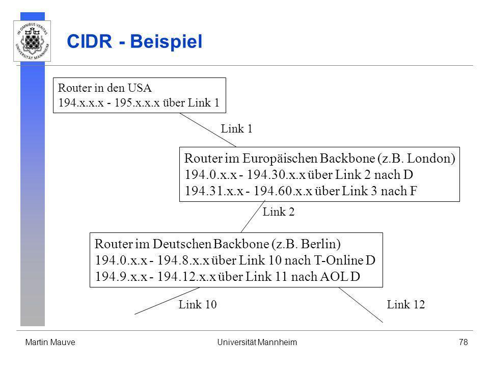 CIDR - Beispiel Router im Europäischen Backbone (z.B. London)