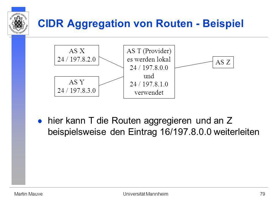 CIDR Aggregation von Routen - Beispiel