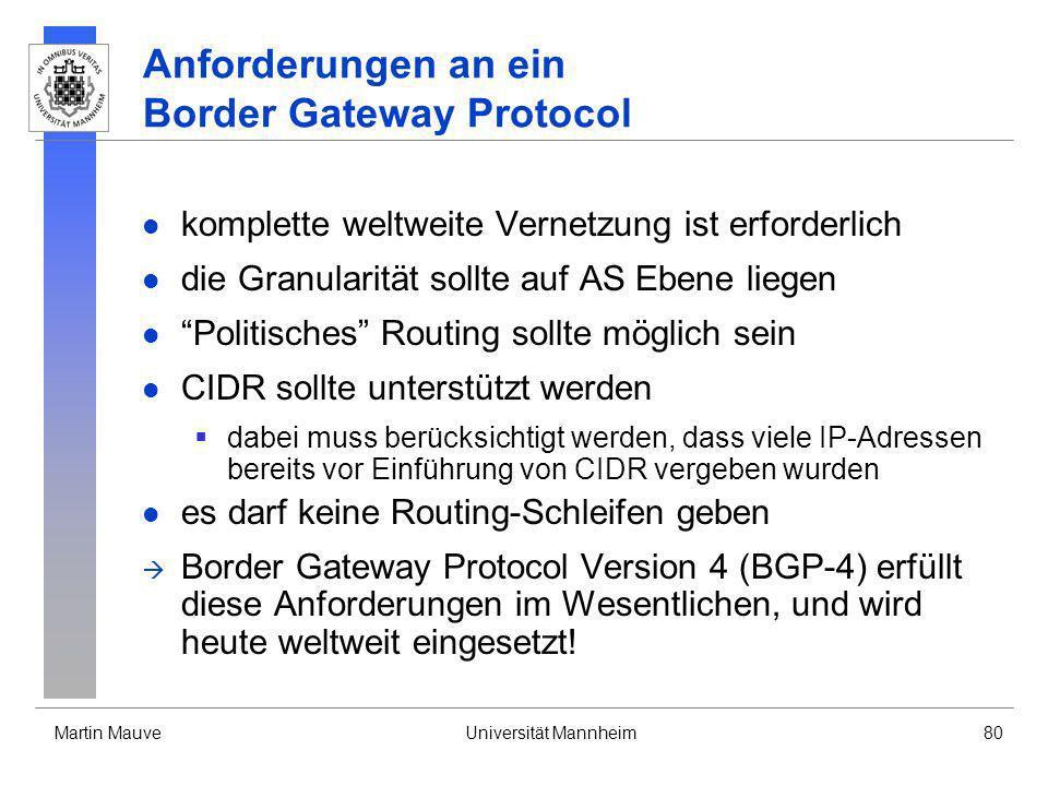 Anforderungen an ein Border Gateway Protocol