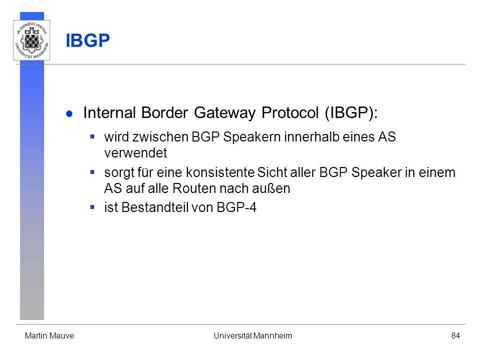 IBGP Internal Border Gateway Protocol (IBGP):