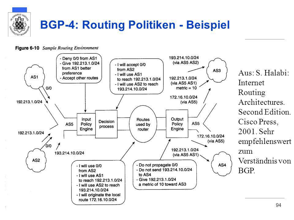 BGP-4: Routing Politiken - Beispiel