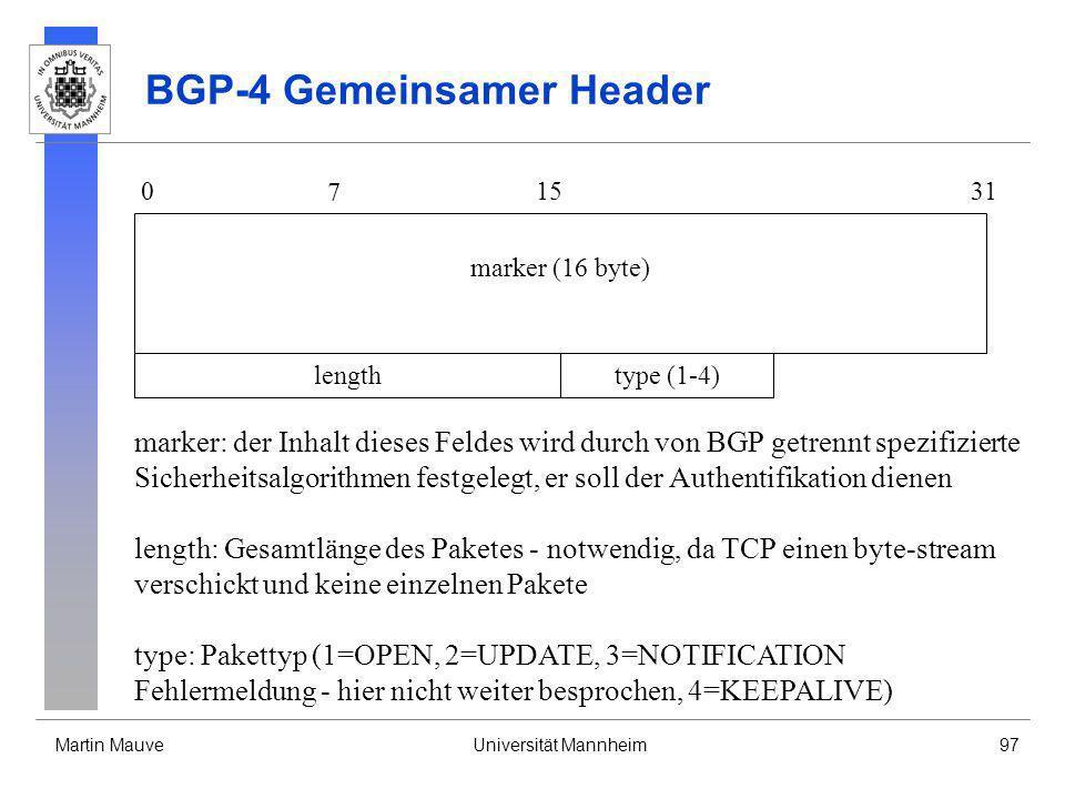BGP-4 Gemeinsamer Header