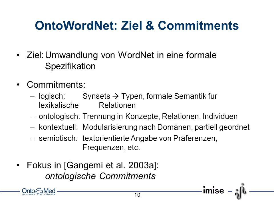 OntoWordNet: Ziel & Commitments