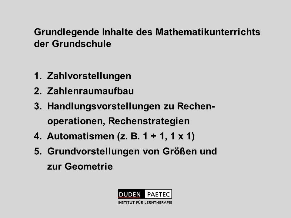 Grundlegende Inhalte des Mathematikunterrichts der Grundschule