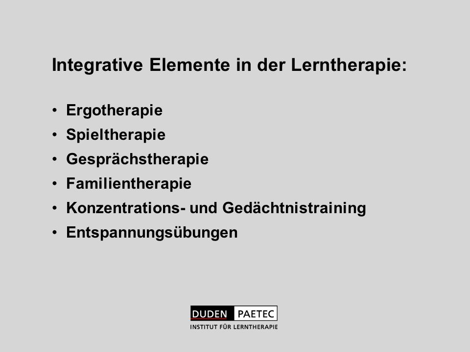 Integrative Elemente in der Lerntherapie: