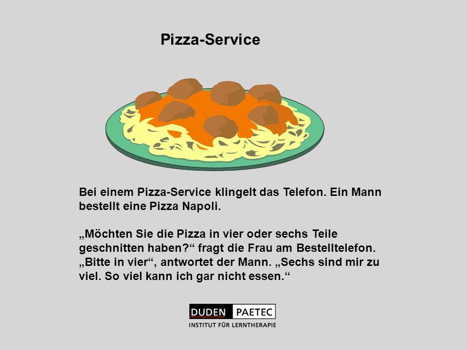 Pizza-ServiceBei einem Pizza-Service klingelt das Telefon. Ein Mann bestellt eine Pizza Napoli.