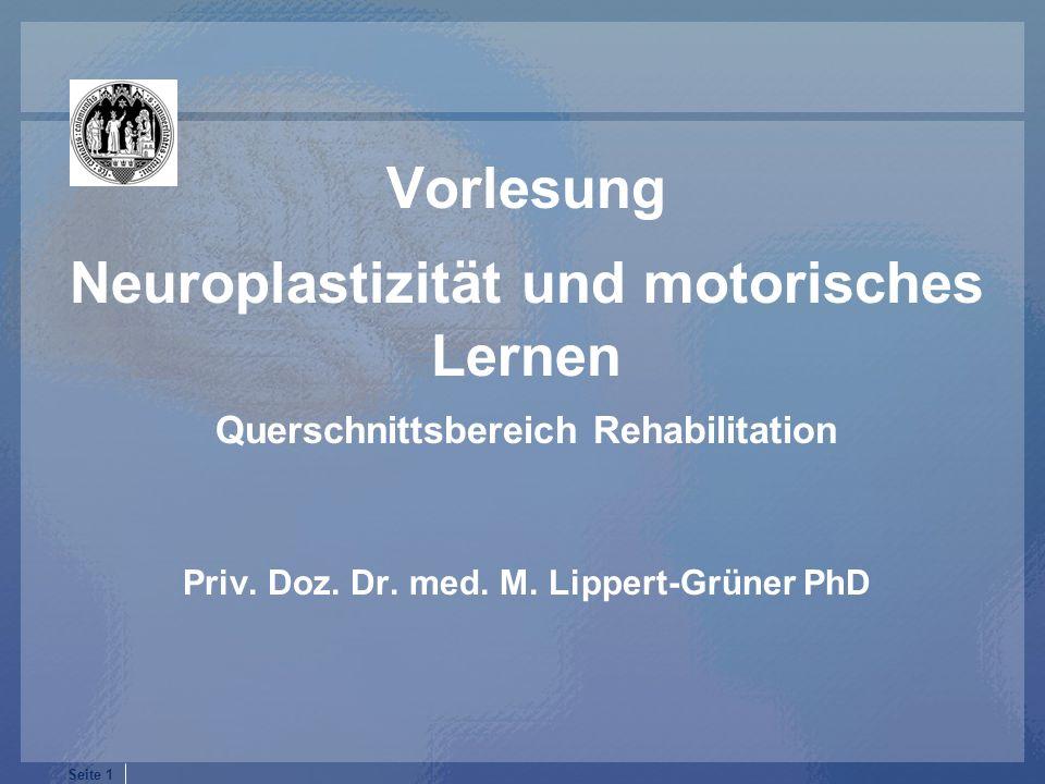 Vorlesung Neuroplastizität und motorisches Lernen