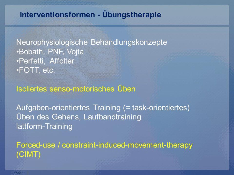 Interventionsformen - Übungstherapie