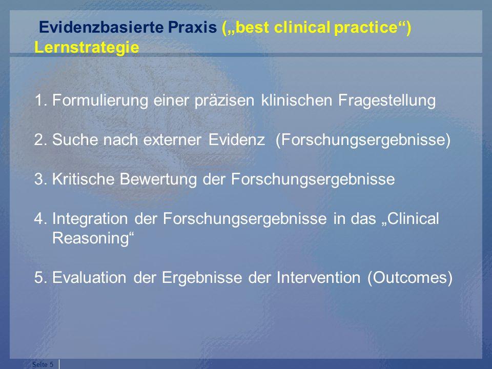 "Evidenzbasierte Praxis (""best clinical practice )"