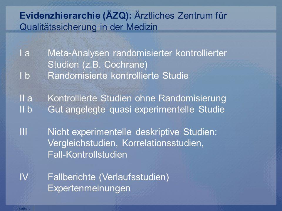 Evidenzhierarchie (ÄZQ): Ärztliches Zentrum für Qualitätssicherung in der Medizin