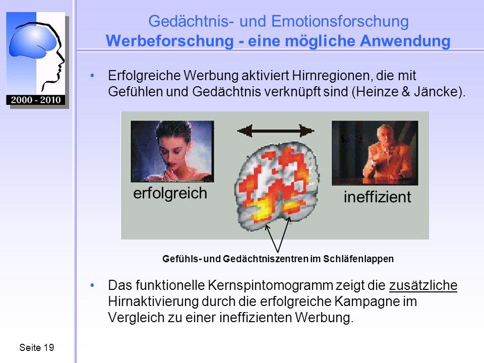 Gedächtnis- und Emotionsforschung Werbeforschung - eine mögliche Anwendung