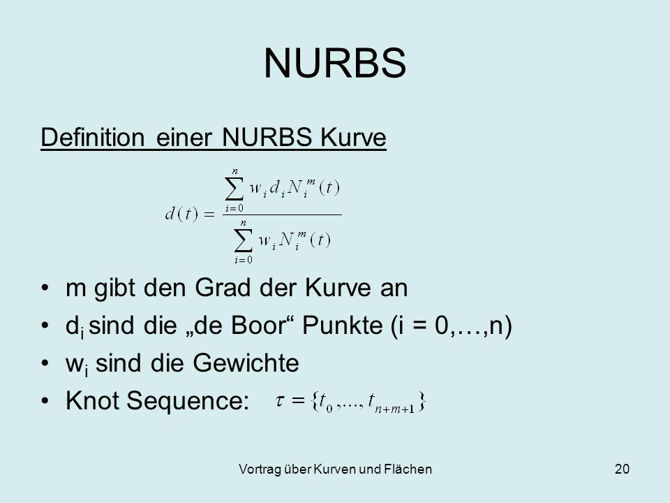 Vortrag über Kurven und Flächen