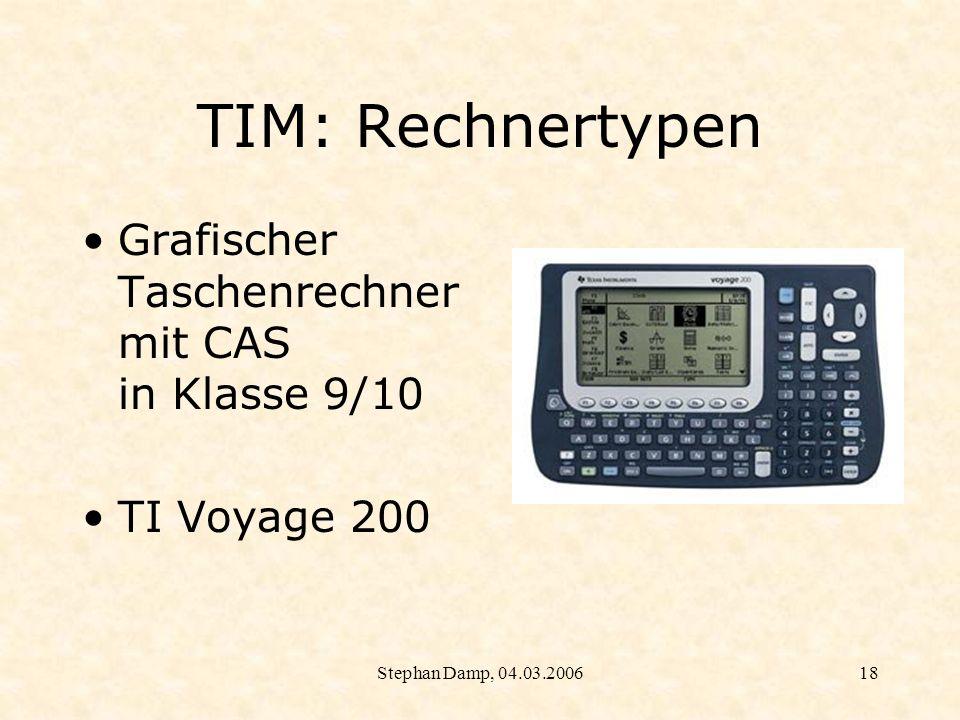 TIM: Rechnertypen Grafischer Taschenrechner mit CAS in Klasse 9/10