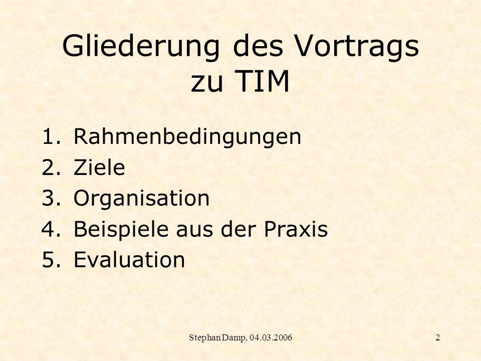 Gliederung des Vortrags zu TIM