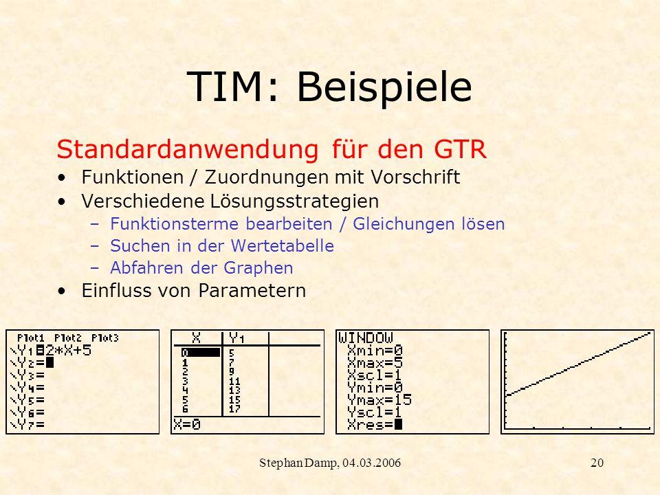 TIM: Beispiele Standardanwendung für den GTR