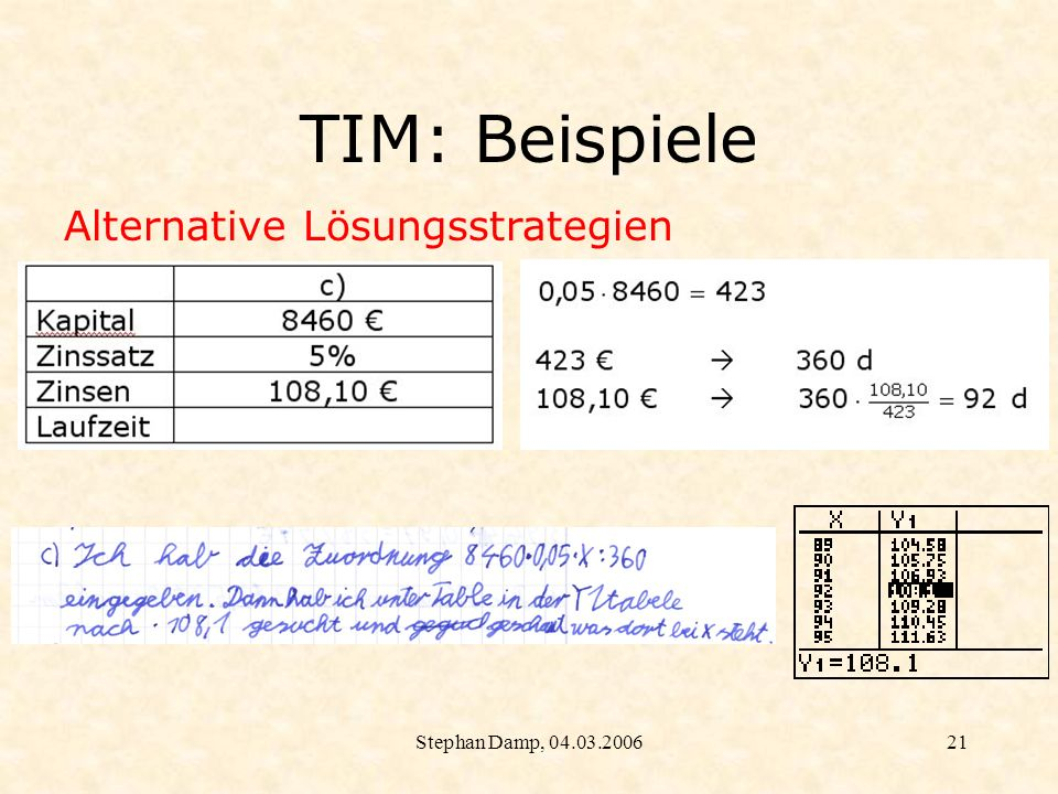 TIM: Beispiele Alternative Lösungsstrategien Stephan Damp, 04.03.2006