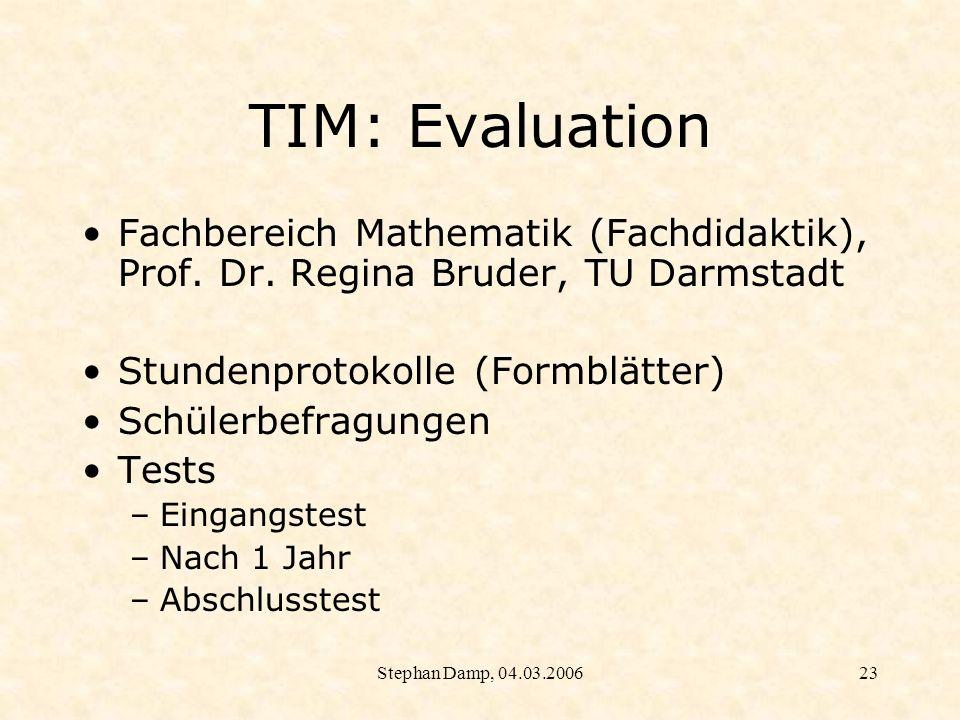 TIM: Evaluation Fachbereich Mathematik (Fachdidaktik), Prof. Dr. Regina Bruder, TU Darmstadt. Stundenprotokolle (Formblätter)