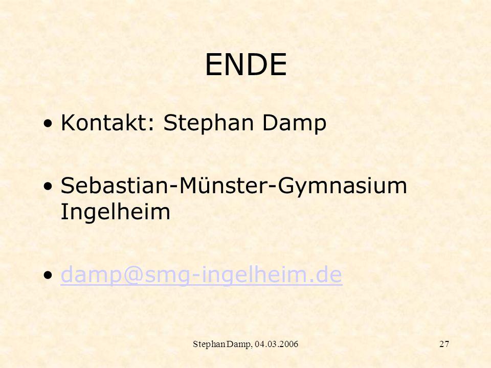 ENDE Kontakt: Stephan Damp Sebastian-Münster-Gymnasium Ingelheim