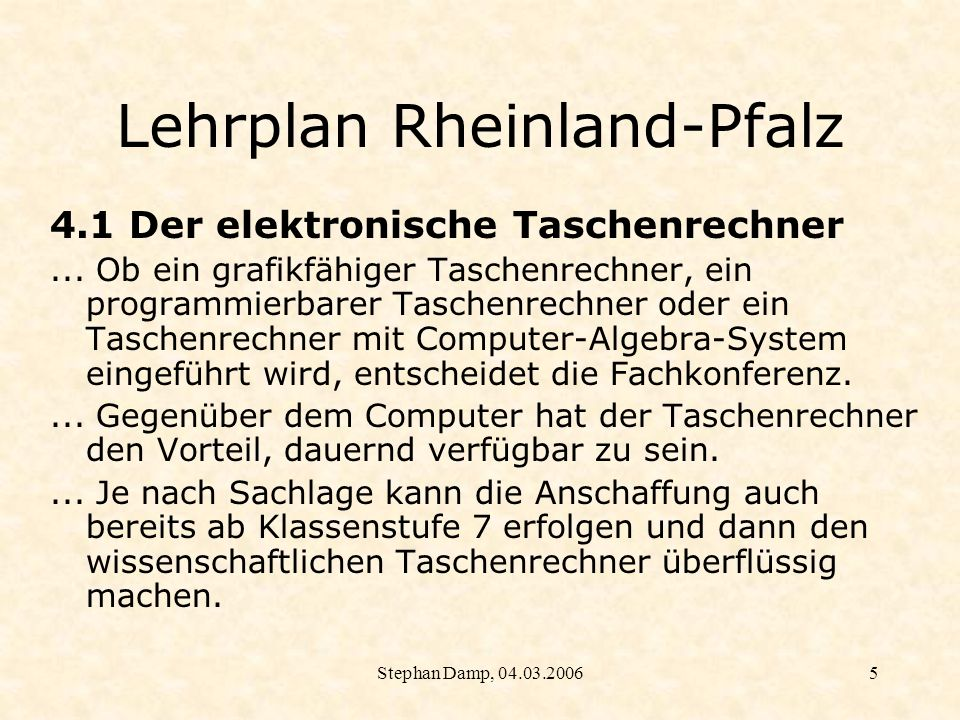 Lehrplan Rheinland-Pfalz