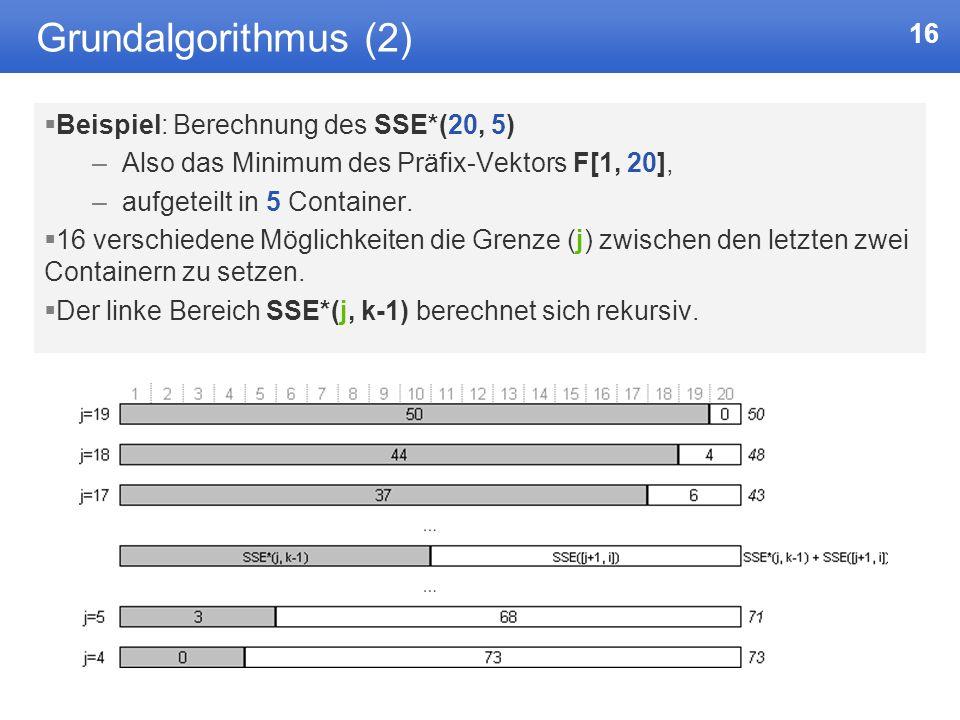 Grundalgorithmus (2) Beispiel: Berechnung des SSE*(20, 5)