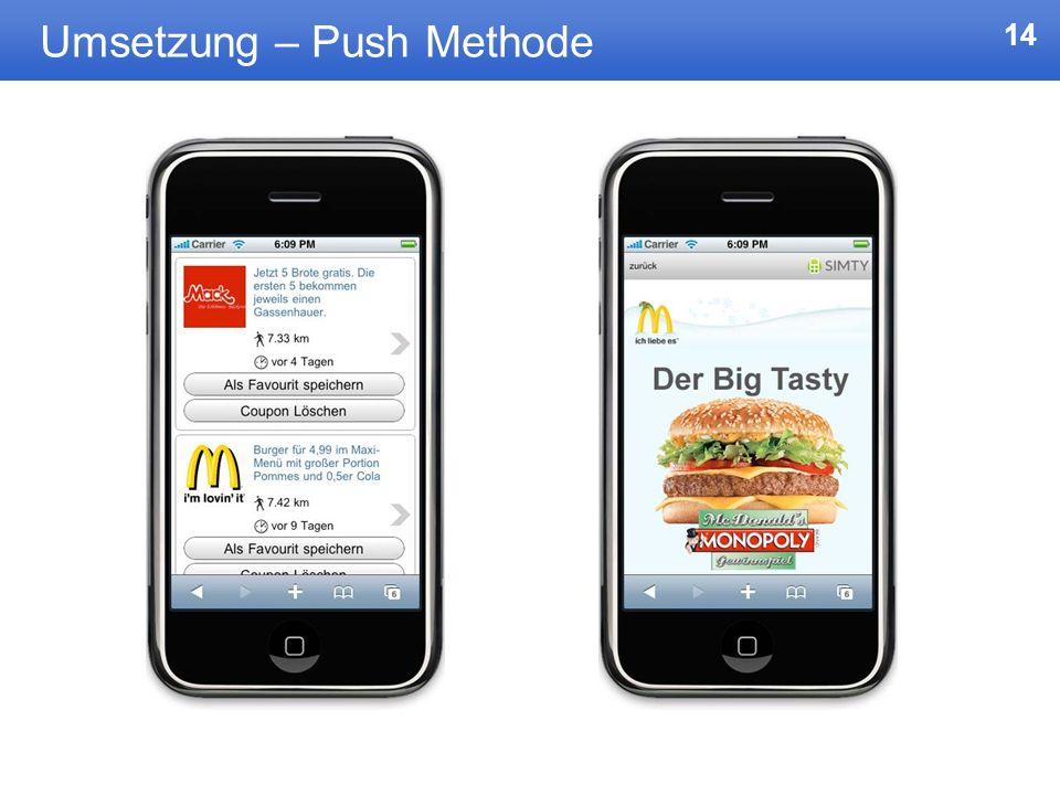 Umsetzung – Push Methode