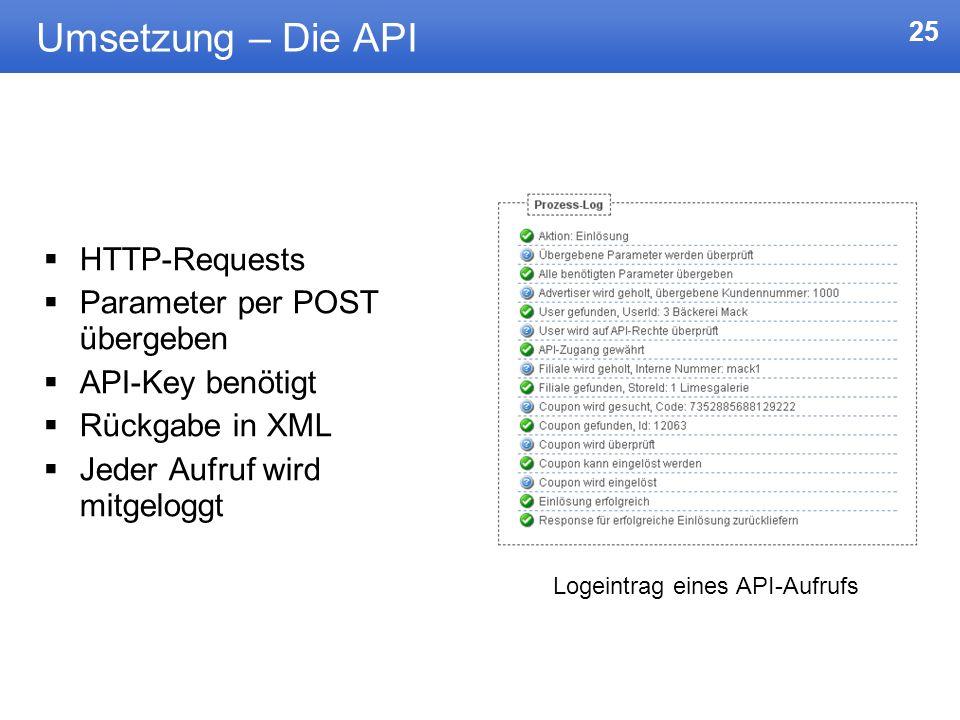 Umsetzung – Die API HTTP-Requests Parameter per POST übergeben