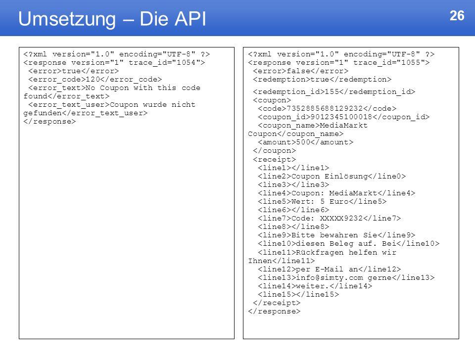 Umsetzung – Die API