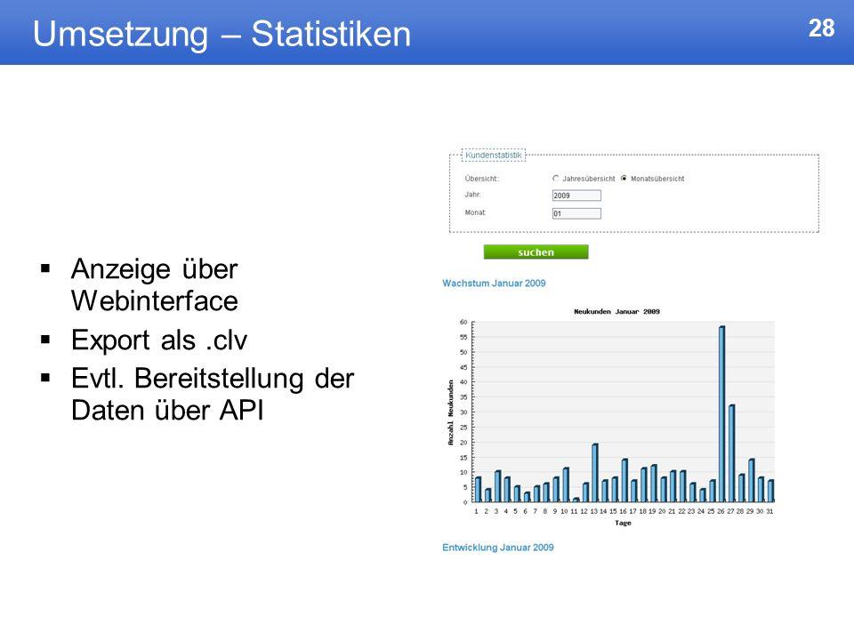 Umsetzung – Statistiken