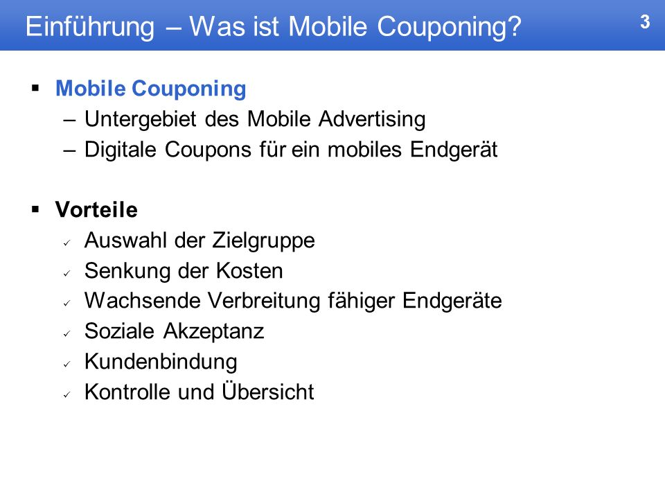 Einführung – Was ist Mobile Couponing