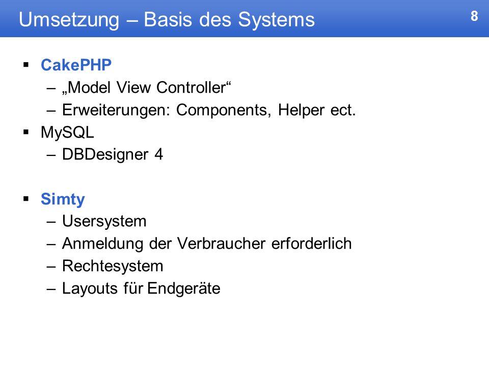 Umsetzung – Basis des Systems