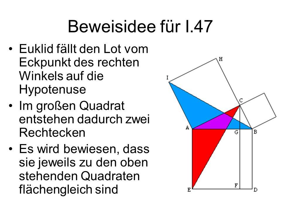Beweisidee für I.47 Euklid fällt den Lot vom Eckpunkt des rechten Winkels auf die Hypotenuse. Im großen Quadrat entstehen dadurch zwei Rechtecken.