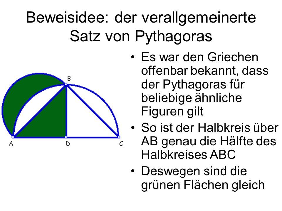 Beweisidee: der verallgemeinerte Satz von Pythagoras