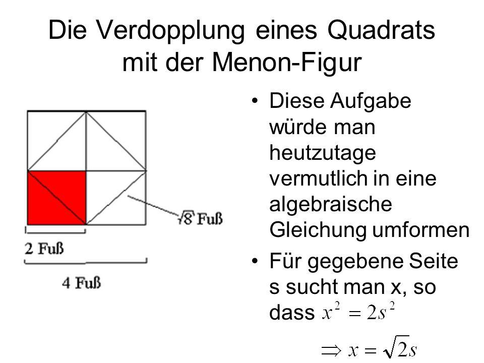 Die Verdopplung eines Quadrats mit der Menon-Figur