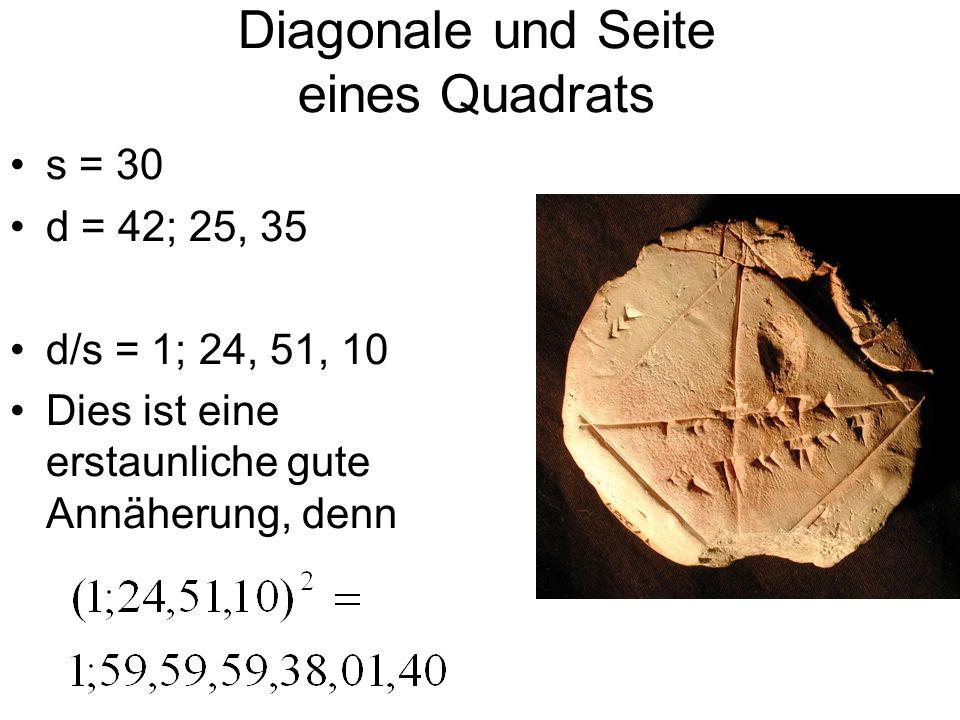 Diagonale und Seite eines Quadrats