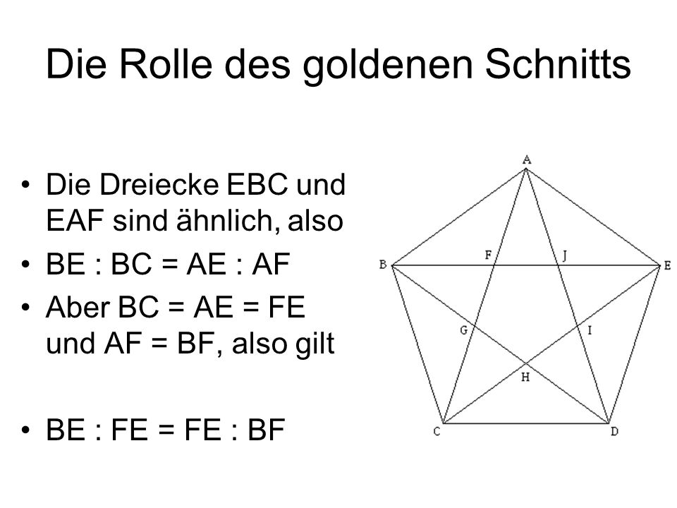 Die Rolle des goldenen Schnitts