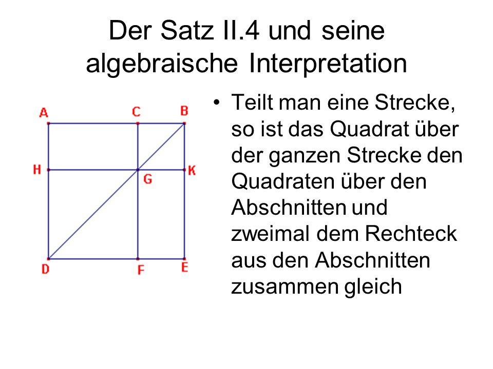 Der Satz II.4 und seine algebraische Interpretation