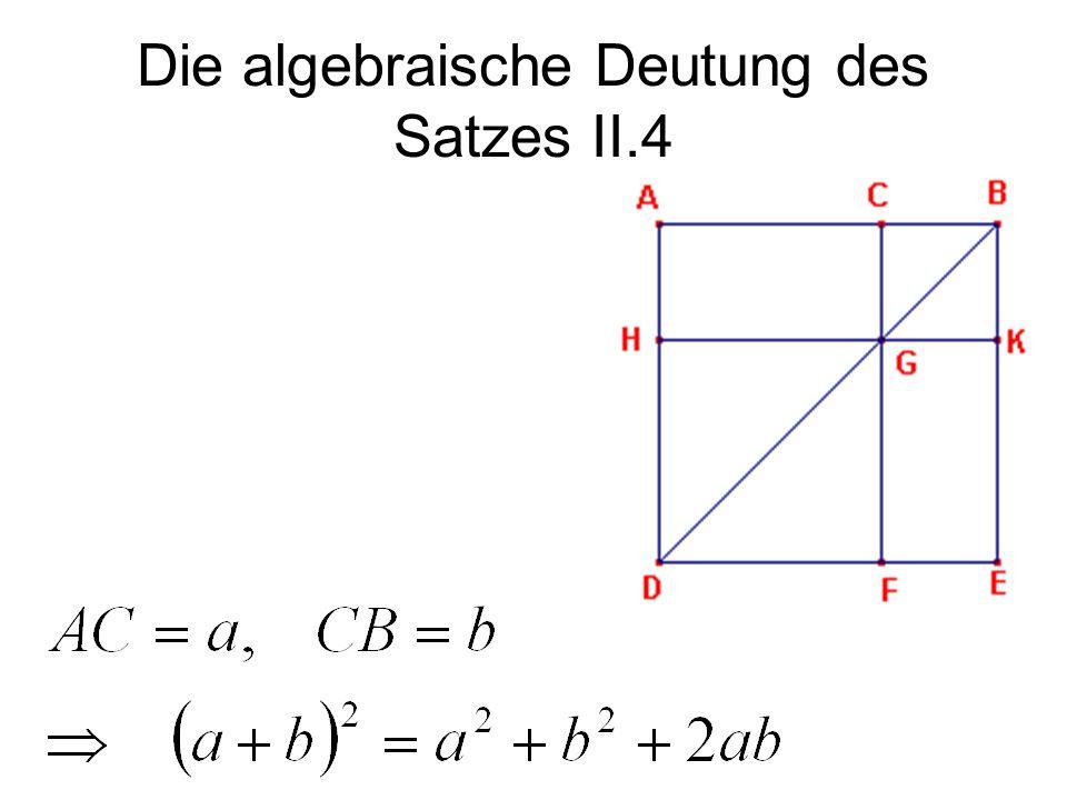 Die algebraische Deutung des Satzes II.4