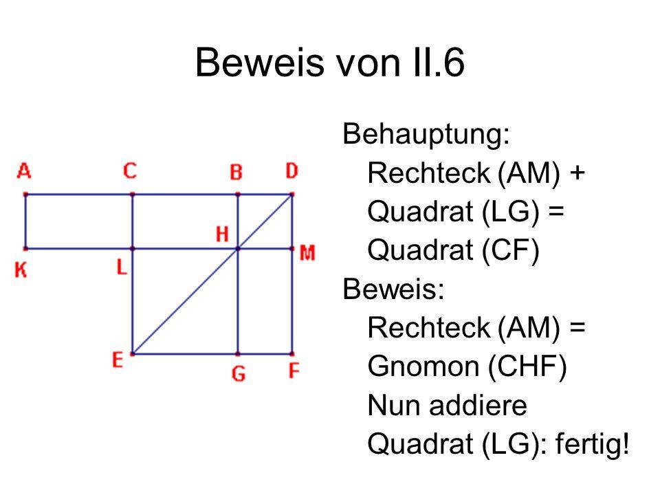 Beweis von II.6 Behauptung: Rechteck (AM) + Quadrat (LG) =
