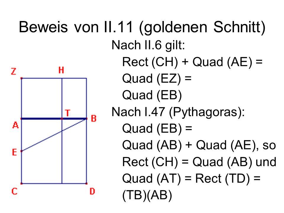 Beweis von II.11 (goldenen Schnitt)
