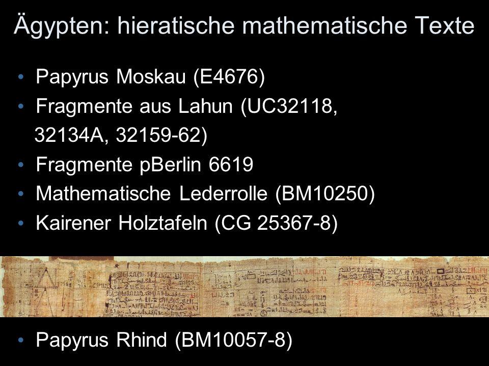 Ägypten: hieratische mathematische Texte