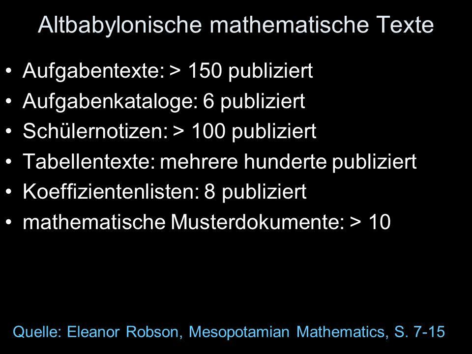 Altbabylonische mathematische Texte