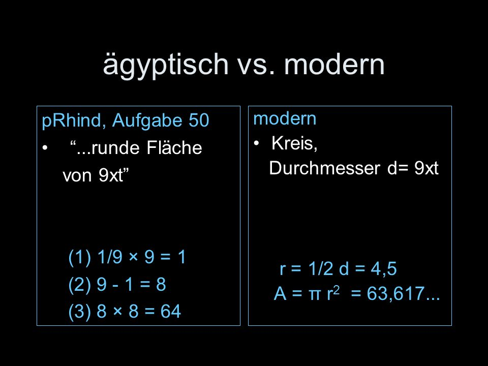 ägyptisch vs. modern pRhind, Aufgabe 50 ...runde Fläche von 9xt
