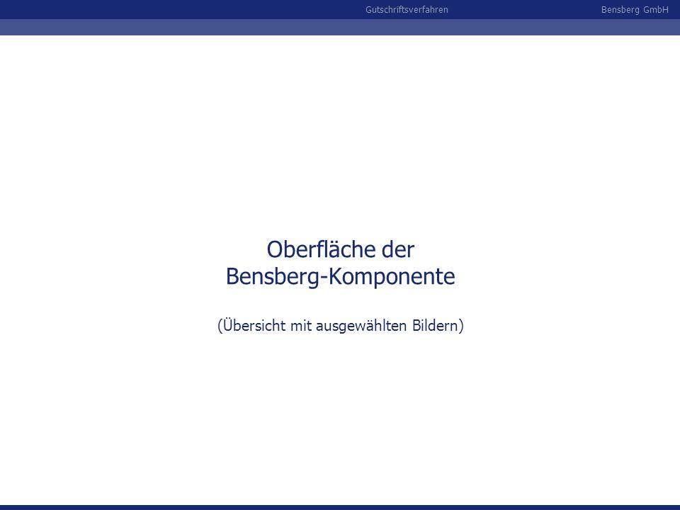 Oberfläche der Bensberg-Komponente (Übersicht mit ausgewählten Bildern)