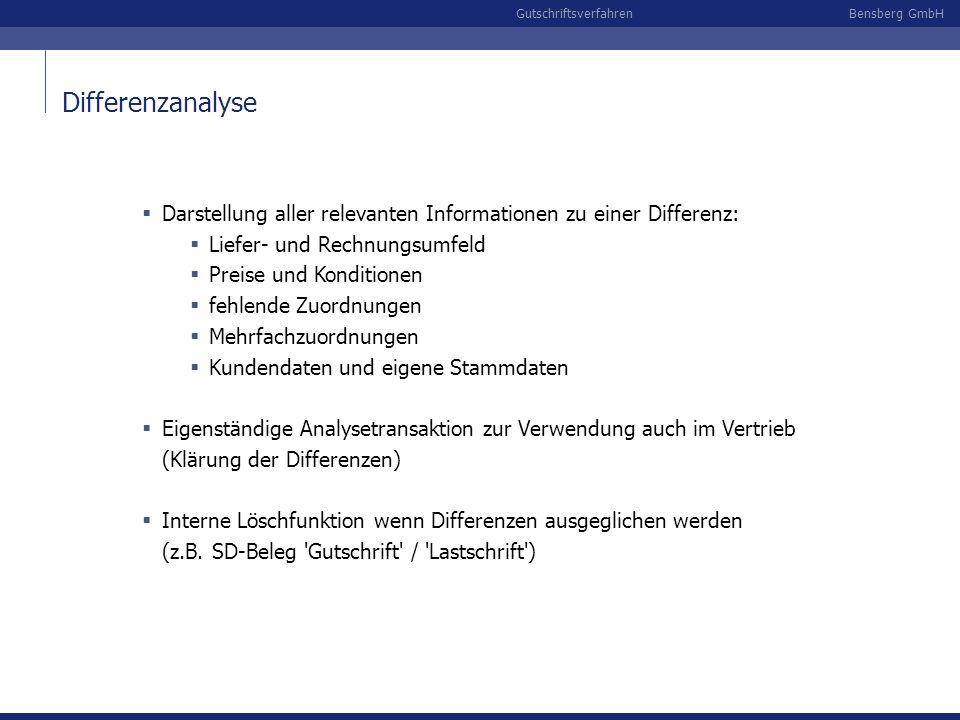 Differenzanalyse Darstellung aller relevanten Informationen zu einer Differenz: Liefer- und Rechnungsumfeld.