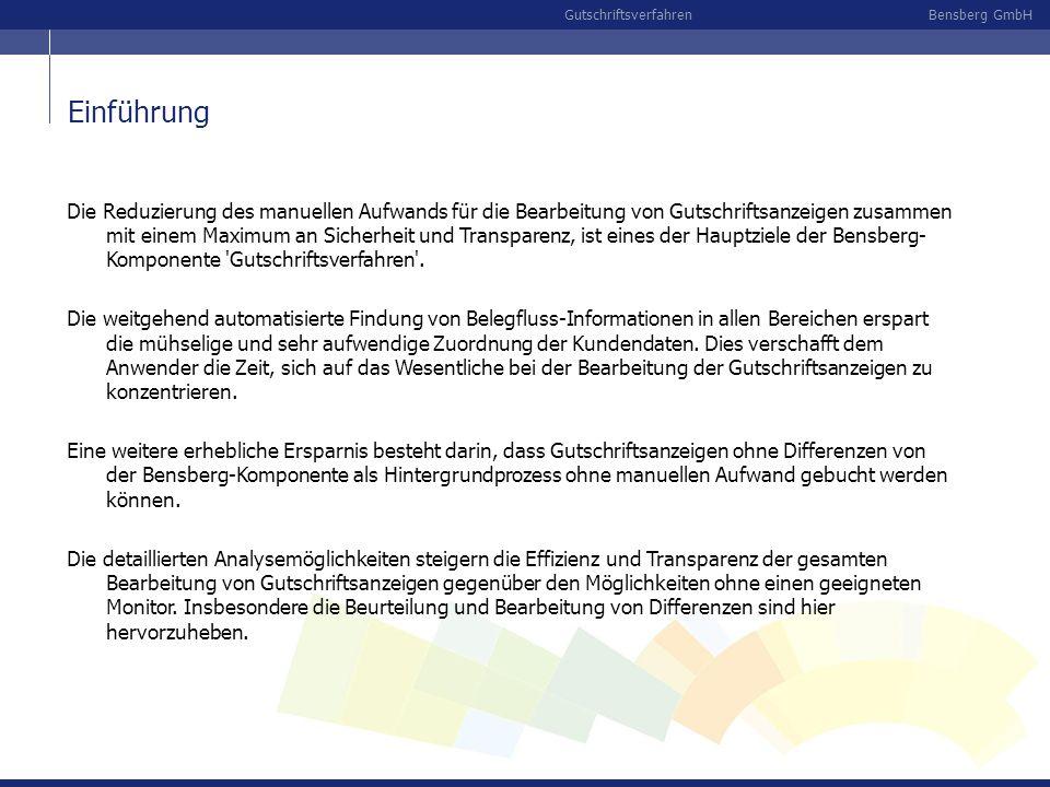 Die Reduzierung des manuellen Aufwands für die Bearbeitung von Gutschriftsanzeigen zusammen mit einem Maximum an Sicherheit und Transparenz, ist eines der Hauptziele der Bensberg-Komponente Gutschriftsverfahren .