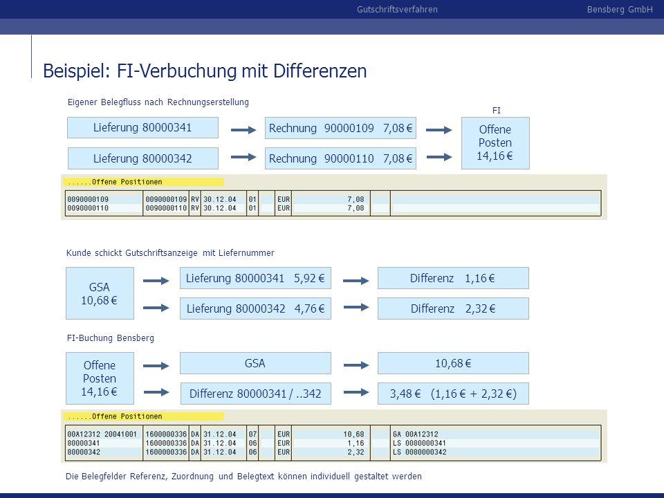 Beispiel: FI-Verbuchung mit Differenzen