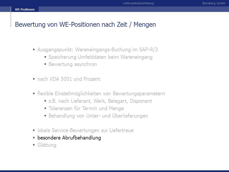 Bewertung von WE-Positionen nach Zeit / Mengen