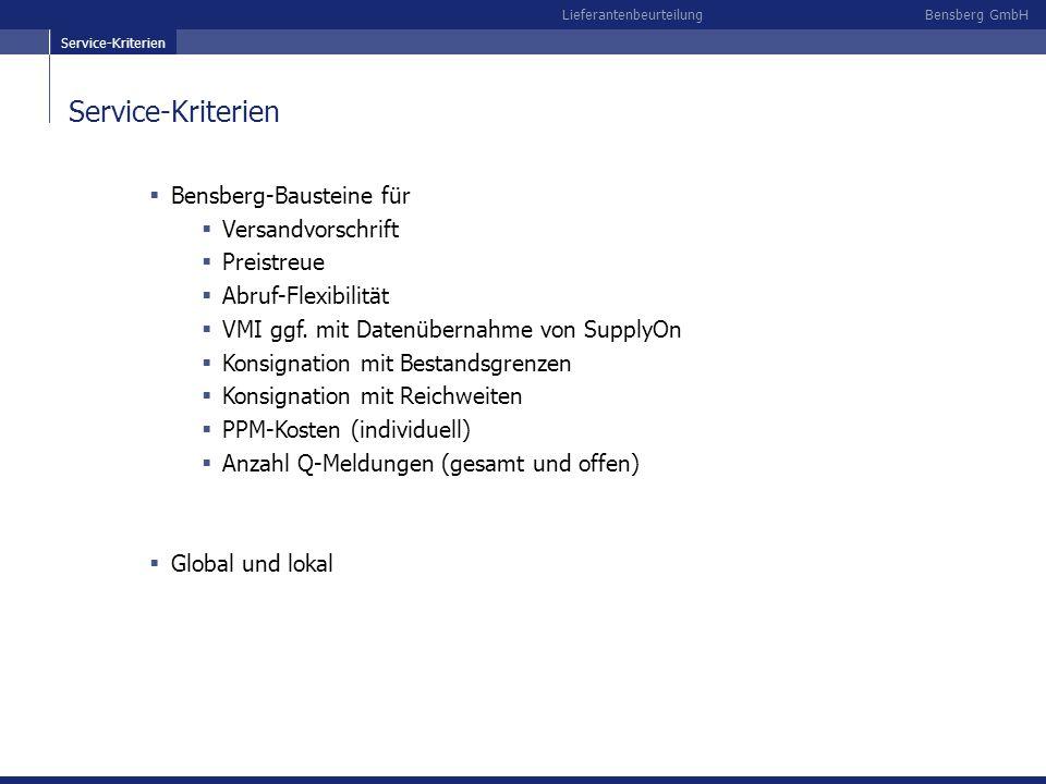 Service-Kriterien Bensberg-Bausteine für Versandvorschrift Preistreue